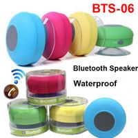 Wholesale Mp3 Player Vibration - Waterproof Wireless Bluetooth Speaker Dustproof Shower Car Handfree Mini Speakers Suction IPX4 Bathroom Call Vibration MP3 Player Mic BTS-06