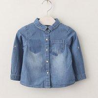 Wholesale Denim Girl Shirts - Kids Girls Denim Shirts Baby Girl Pocket Blue Blouse 2017 Autumn Infant Princess Full Sleeve T-shirt Children Boutique Clothing B756