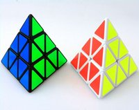 Wholesale Triangle Puzzle Cubes - New Arrival Shengshou Triangle Pyramid Pyraminx Black White 3x3 Speed Magic Cube Puzzle Twist for Children Toy Game