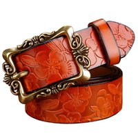 Wholesale Carved Leather Belts - Fashion Women Leather Belts Wide Vintage Floral Carved Cowskin Belts For Women Belts Cummerbunds ceinture femme