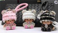 ingrosso ornamenti panda-carino diamante panda portachiavi auto portachiavi in pelle di alta qualità borse moda ornamenti creativi