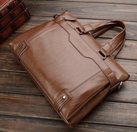 Wholesale New Genuine Leather inch Laptop Bags Crossbody Messenger Bags Leather Office Bags for Men Document Briefcase Travel Bags