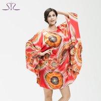 Wholesale Silk Pyjama Dress - Wholesale-2016 Top Promotion Summer Plus Size Home Clothing Women Pyjamas Loose Silk Nightgown Dressing Gown For Women 10266