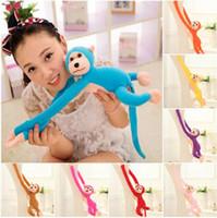 peluş dolma maymunlar toptan satış-60 cm Uzun Kol Asılı Maymun Peluş Bebek Oyuncakları Doldurulmuş Hayvanlar Yumuşak Bebek Renkli Maymun Çocuklar Hediye OOA3116
