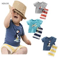 Wholesale Clothes Baby Anchor - 2016 Summer Baby Boys Anchor Sets Top t shirt+Stripe Pants Children Short Sleeve Boutique Outfits Kids Summer Pajamas Suits Kids Clothes