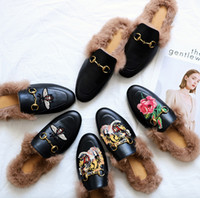 Wholesale Ladies Dark Blue Shoes - 2017 Ladies luxury fur mule slippers ladies leather flat Suede mule shoes love shoes fashion outdoor slippers fall And Winter shoes