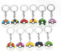 Wholesale Keys Cover Cute - New 12 Styles Cute Poke Go Round Ball Key Chain for Male Women Friendship Car Keychains Key Cover Chaveiro Souvenir Porte Clef CC725