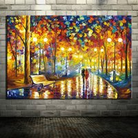 Modern Hot Knife Oil Painting Tree On Canvas Abstract Park Landscape Art Pictures Set Handmade Home Wall Prenda decorativa para sala de estar
