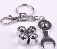 Wholesale wheel cars for sale online - New Hot Sale Car Wheel Tire Valve Caps with Mini Wrench Keychain for Hyundai Piece Pack
