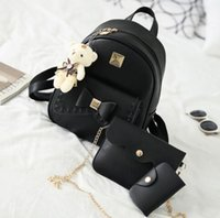 Wholesale Canvas Dots Backpacks For Girls - Kavard Fashion Backpack Women Pu Leather Back Pack Famous Brand School Bags for Girls sac a dos femme with Purse and Bear 2017