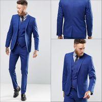 blaue, schmal geschnittene anzugsbilder großhandel-Blaue farbe sanfte mann smoking anzüge echtes bild gut aussehend bräutigam anzüge eine taste slim fit hochzeitsanzug für männer (jacke + pants + weste)