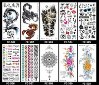 Wholesale Tattoo Sticker Scorpion - 16.5*8cm Temporary fake tattoos Waterproof tattoo stickers body art Painting for party decoration etc mixed arm cross flower scorpion