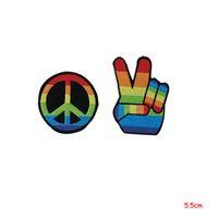 ingrosso macchie di ferro fiorite-Peace sign hippie boho retro flower power love hippy applique iron-on patch Adesivi Accessori Accessori Distintivi