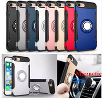 Wholesale Iphone Hybrid Stand - Hybrid 2-in-1 Armor Case for iPhone 8 7 6 6S Plus ShockProof Case with 360° Ring Stand Holder Magnetic Back Cover for Samsung