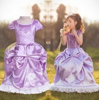 Wholesale Straight Wedding Dress Short Sleeves - Newest Sofia Princess Purple Dress Girls wearing Children Kids Floral Clothes Wedding Party Casual Costume Clothing