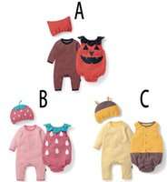 Wholesale Cute Animal Vests - 2016 Baby cotton fleece Romper Three-piece sets cute hat+vest romper+long sleeves romper Pumpkin Bee Strawberry jumpsuits toddlers holloween