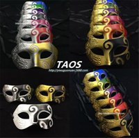 Wholesale Dancing Paper - 14 designs half face mask Mens Mask Halloween Masquerade Masks Venetian Dance party Mask Can Choose D756