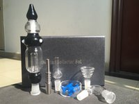 Wholesale Cheap Plastic Bowls - A set !!Gift box Nectar Collector two function kit glass bong Inverted Titanium nail Plastic Clip with oil bowl glass bongs pipes cheap