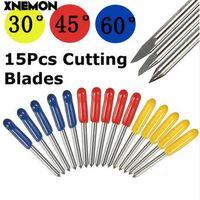 vinil kesiciler çizicileri toptan satış-XNEMON 15 adet / takım Mimaki Plotter için 30/45/60 Derece Kesme Tungsten Bıçak Vinil Kesici 22x1.5mm Roland Bıçakları Maket Bıçağı