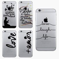 Wholesale Life Cell Phone Cover - Super Slim Transparent LOVE LAUGH LIFE Printing Cell Phone Case For iphone 5 5s   6 6s Hard PC Clear Skin Back Cover Capa