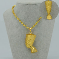 Wholesale Yellow Gold Jewellery Sets - 3D Egyptian Queen Nefertiti Pendant Necklace Sets Jewelry 24K Yellow Gold Plated Egypt Necklaces for African Jewellery #034806