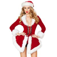Wholesale Santa Claus Suits For Women - Hot Sale Sexy Women's Christmas Costumes Adult Women Dress Cute Festival Suit for Ladies Masquerade Cosplay Free Shipping