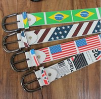 cintos de bandeira venda por atacado-Nova UnionJack Bandeira Britânica Unisex América Brasil Bandeira design Austrália Imprimir PU Leather Belt 10 pçs / lote Frete grátis