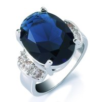 Wholesale Saphire Set - Women's 18k White Gold Plated Sapphire 3CT Ring Sparkling Blue Saphire AAA+ Quality Token of Love Anniversary Present