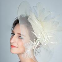 Wholesale Ladies Veiled Hat - 2016 Luxury Wedding Bridal Hat Fascinator Handmade Linen Flower Bowknot Veil Vintage Lady Elegant Hair Accessories Headdress