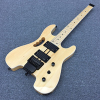 Wholesale Headless Neck - 2017 New Headless Electric Guitar Neck and body are connected Stain finish transparent color Black Hardware Real photos Hot