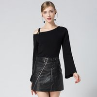 Wholesale Strapless Sweaters - In The Autumn of 2017 New Women's European Trumpet Sleeve Strapless Irregular Oblique Collar Sweater Knit Slim Female Backing