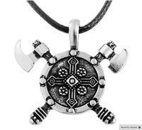 Wholesale Double Shield - New 2016 Norse Viking Barbarian Gladiator Medieval Double Axe Shield Pewter Pendant Necklace Free shipping