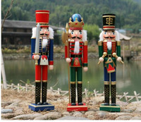 Wholesale Antique Wood Statue - craft LUCKY statue decoration the Nutcracker puppet soldiers 50 cm home ornaments drummer New Year gift King guard