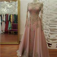 Wholesale Woman Pearl Pink Dresses - Long Sleeve Evening Dresses for Women Wear Lace Appliques Abiye Dubai Caftan Muslim Prom Party Gowns 2018