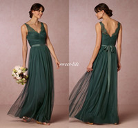 Wholesale Emerald Wedding Dresses - Elegant Emerald Green Long Bridesmaid Dresses 2016 Sheer V Neck Open Back Sash Floor Length Maid of Honor Dress Wedding Guest Formal Gowns