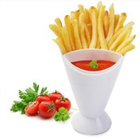 Wholesale Coned Stock - French Fries Cup Creative Vegetable Sticks 2 in 1 Salad Bowl Kitchen Potato Tool Fries Set DIPPING it CONE CCA7627 50pcs