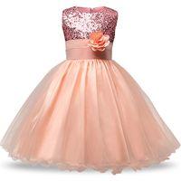 vestidos formales de las niñas al por mayor-Vestido de graduación para Junior Senior Adolescentes Gala de baile del traje de lentejuelas de flores largas del vestido de novia vestido de las muchachas del desgaste formal de la ocasión 2-8t