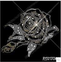 motivdesign für kleidung großhandel-31 * 27cm helle Pfingstrose Blume DIY Bling Kristall Muster Bekleidungszubehör Hot Fix Strass Motiv Wärmeübertragung auf Design Eisen auf Kleidung