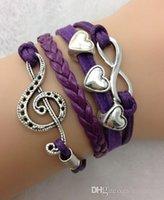 Wholesale Multi Bead Link Bracelet - Music Notation Charm Bracelets Jewelry Leather Infinity Bracelets Multi pick style Leather Bracelets 2016 Best Selling