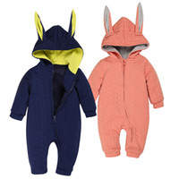 Wholesale Wholesale Pocket Jumpsuit - PrettyBaby 2colors baby clothing sets dark blue&orange baby climb clothes little bunny shape kids jumpsuits free shipping