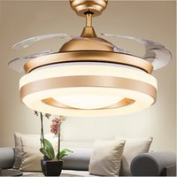 Wholesale Wireless Remote Lamp Switch - Modern simple invisible fan lamp Wireless control Crystal Ceiling Fans light Retractable 4 Blades Pendant lamp 42 inch Fans Chandelier