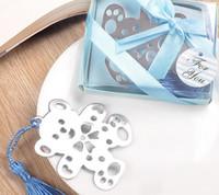 partie de douche rose achat en gros de-Bluk Home Favourite Party Favors Bear Teddy Bookmark - Baby Shower Cadeau de baptême cadeau de mariage (bleu ou rose)