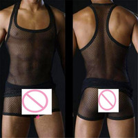 Wholesale Men S Sexy Underwear Fishnet - Wholesale- men's sexy tanks tops Male underwear Gay clothing mesh net Fashion man clothes Undershirts for men sleeveless vest fishnet