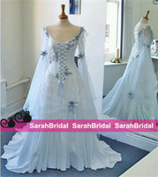 Wholesale Cheap Flower Printed Wedding Dresses - 2016 Vintage Celtic Wedding Dresses Ivory and Pale Blue Colorful Medieval Bridal Gowns Scoop Corset Long Sleeves Appliques Custom Made Cheap