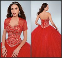 Wholesale Dresse Jackets - Ball Gown Custom Made Crystals Sparked Prom Dress Pageant Dress Red Formal Wear Sweet 16 Dresse With Jacket Sweetheart Quinceanera Dresses