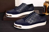 Wholesale Casual Shoes For Dresses Blue - Christmas gift for famous brand designer mens casual shoes luxury sneaker genuine leather shoes 39-46