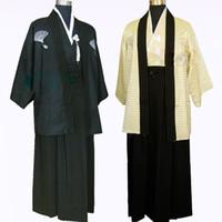 cosplay naruto al por mayor-Al por mayor-Japón Tradicional samurai kimono Cosplay Disfraces Ropa japonesa Mujeres Hombres Cosplay naruto