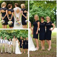 A-Line black water farm - Knee Length Navy Blue Lace Bridesmaid Dresses Short Country Bridesmaids Dresses O Neckline Rustic Farm Vintage Open Back Bridesmaids Gowns