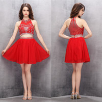 Wholesale Teen Sweet Sexy - Red Two Pieces Homecoming Dresses 2016 A-line Cocktail Party Dress For Teens Sparkly Beaded Chiffon Short Prom Dresses Sweet 16 Dress