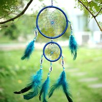 Decoración Azul Del Dormitorio Baratos-2016 Estilo India Handmade Blue Dream Catcher Red Circular Con Pluma Colgante Decoración Decoración Decoración Regalo